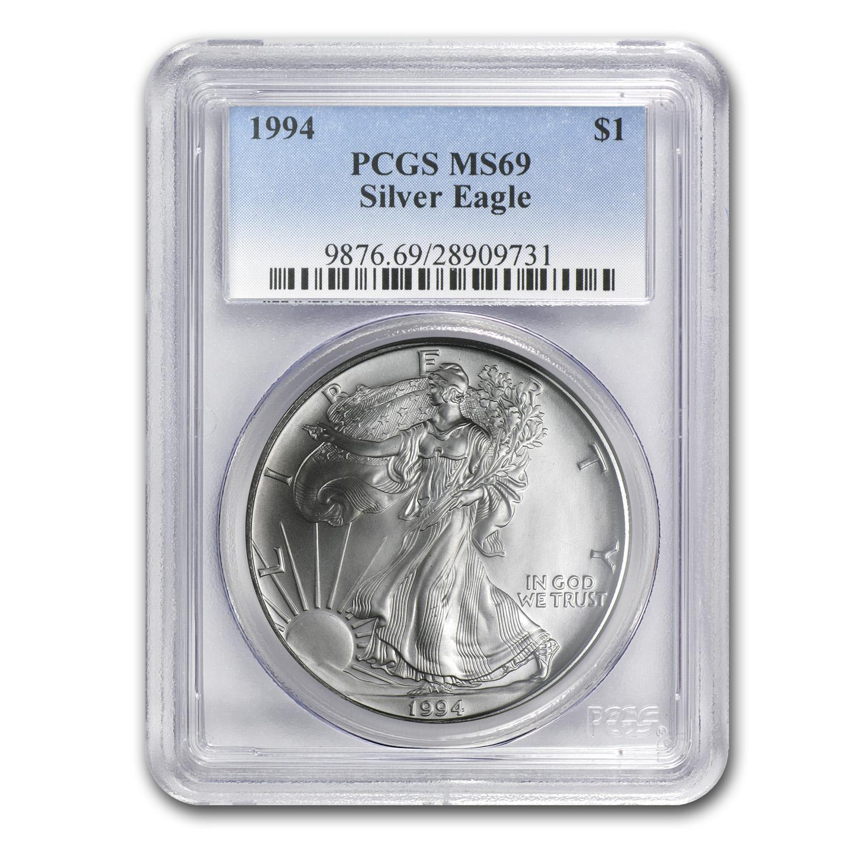 1994 Silver American Eagle Ms 69 Pcgs Silver Eagles