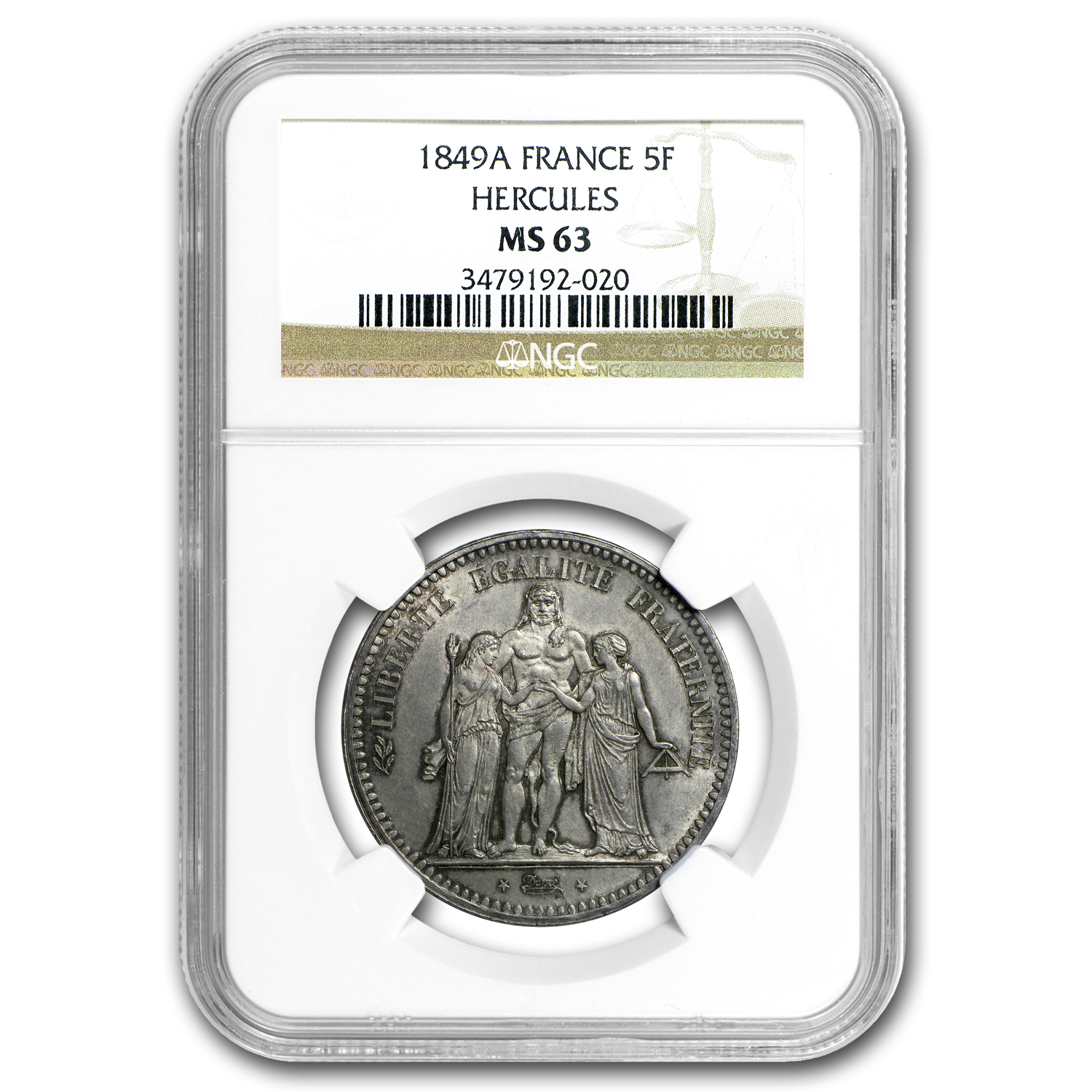 1849 France 5 Francs Hercules MS-63 NGC