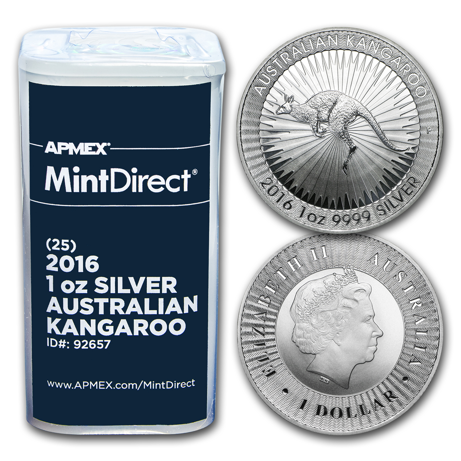 2016 Australia 1 oz Silver Kangaroo (25-Coin MintDirect® Tube)