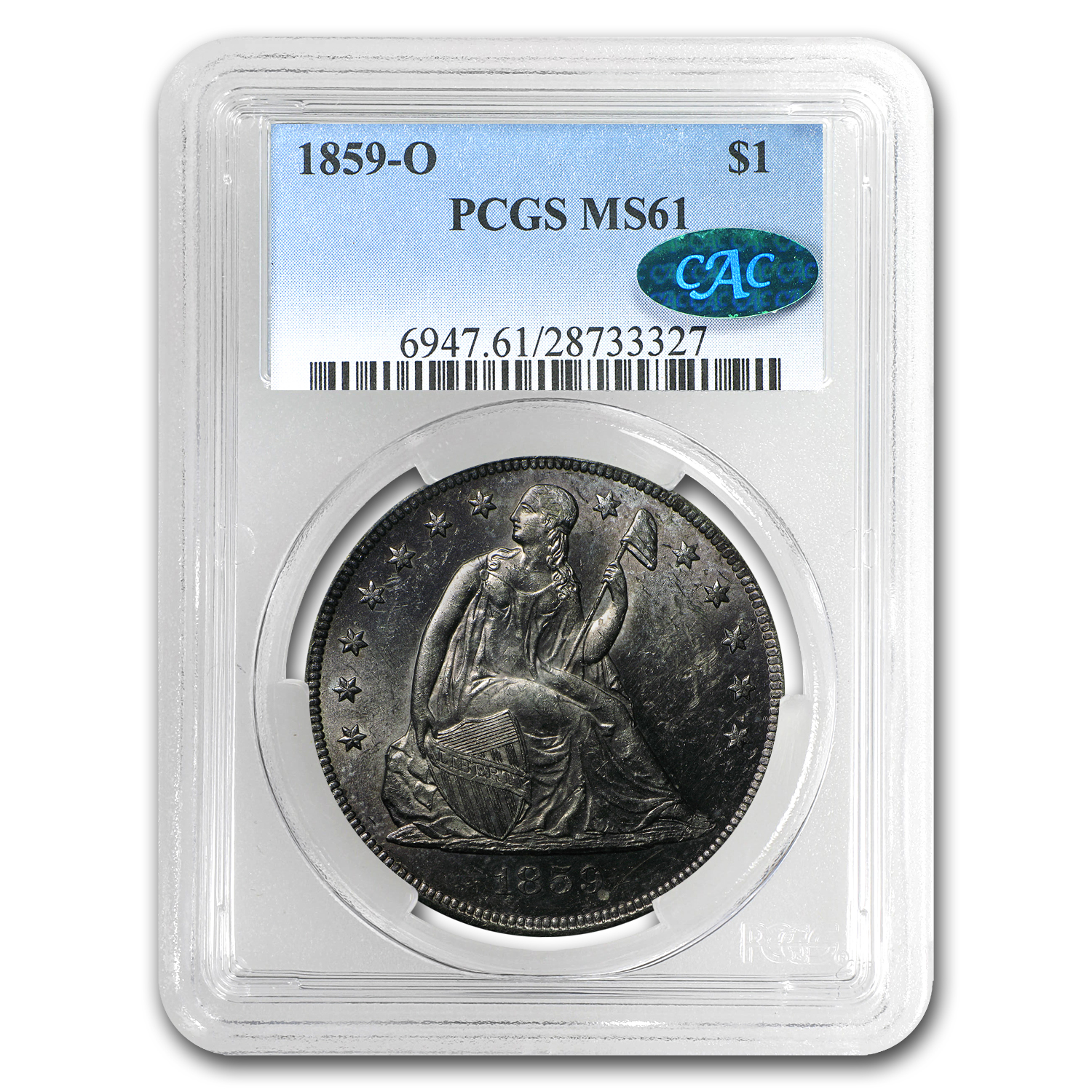 1859-O Liberty Seated Dollar MS-61 PCGS CAC