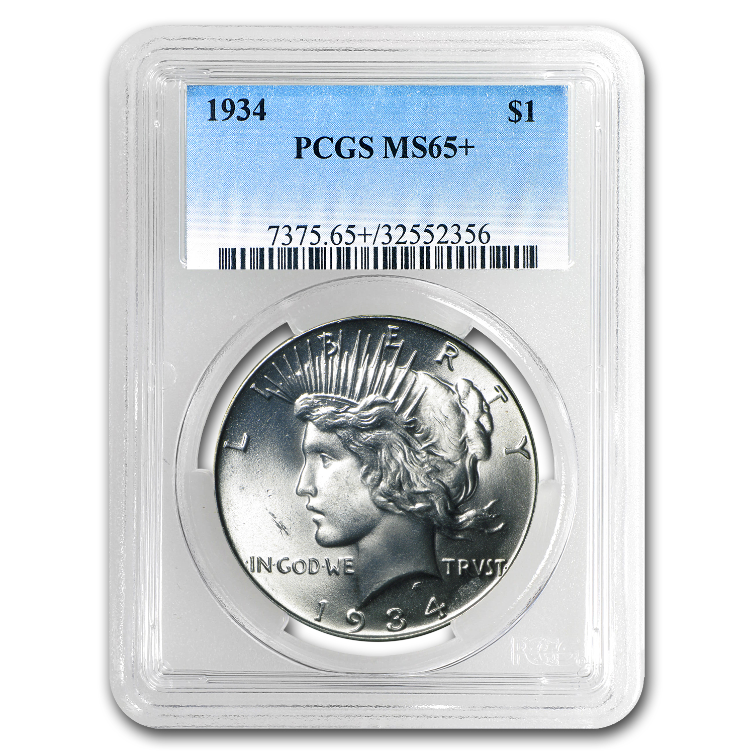 1934 Peace Dollar MS-65+ PCGS