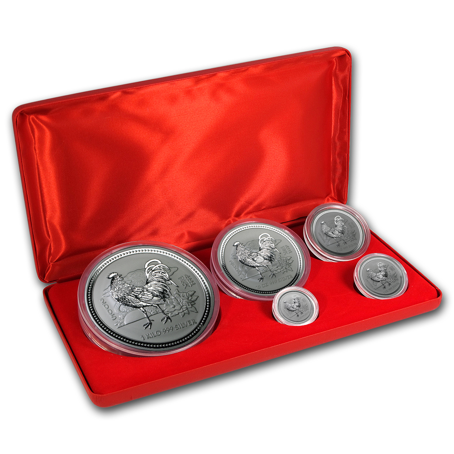 2005 Australia 5-Coin Silver Rooster BU Set