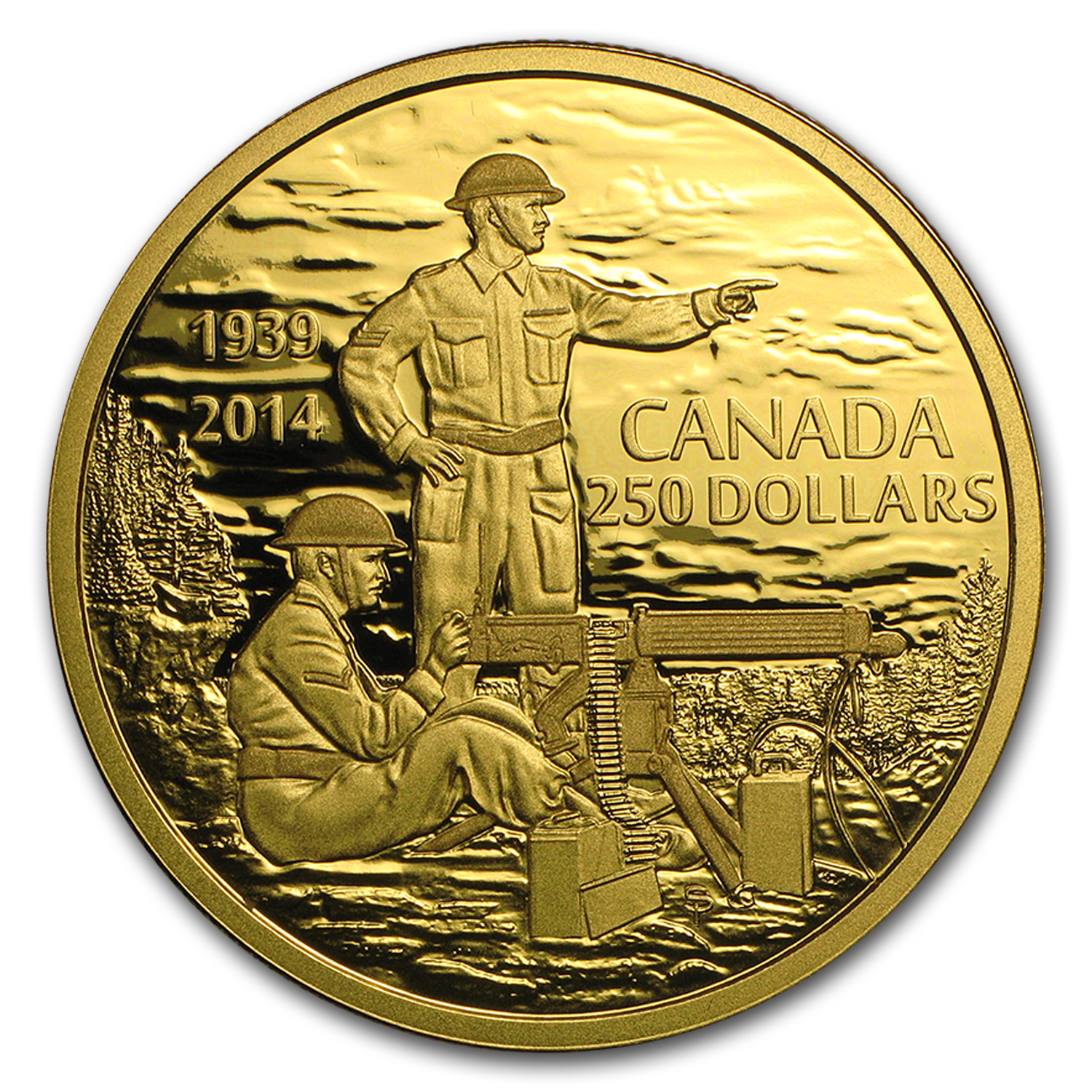 2014 Canada 2 oz Proof Gold $250 Anniversary of WWII