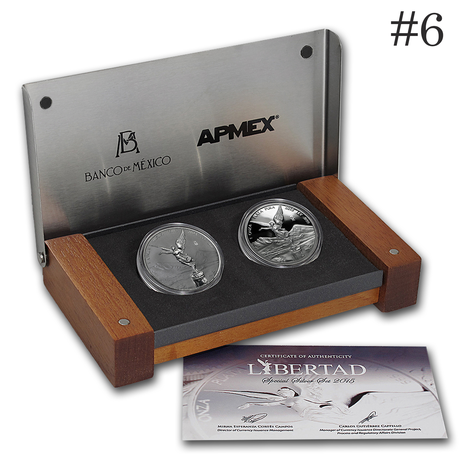2015 Mexico 2-Coin Silver Libertad Proof/Reverse Proof Set #6
