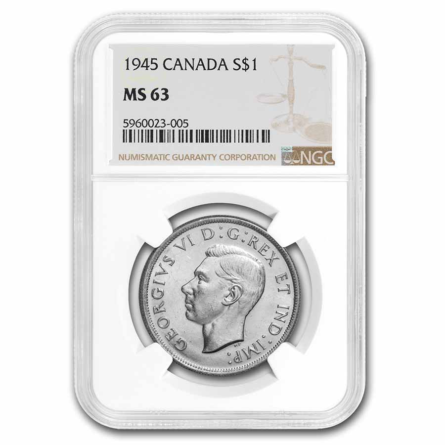1945 Canada Dollar Silver MS-63 NGC