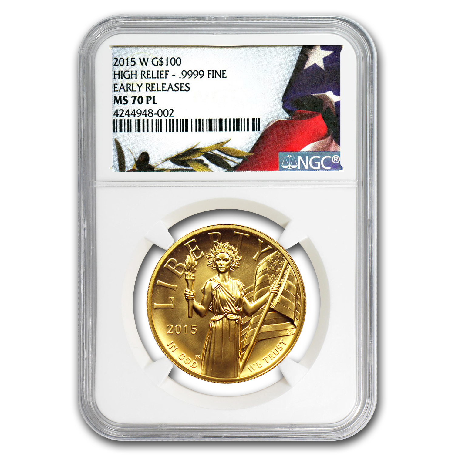 2015 American Liberty High Relief Gold MS-70 PL NGC (ER)