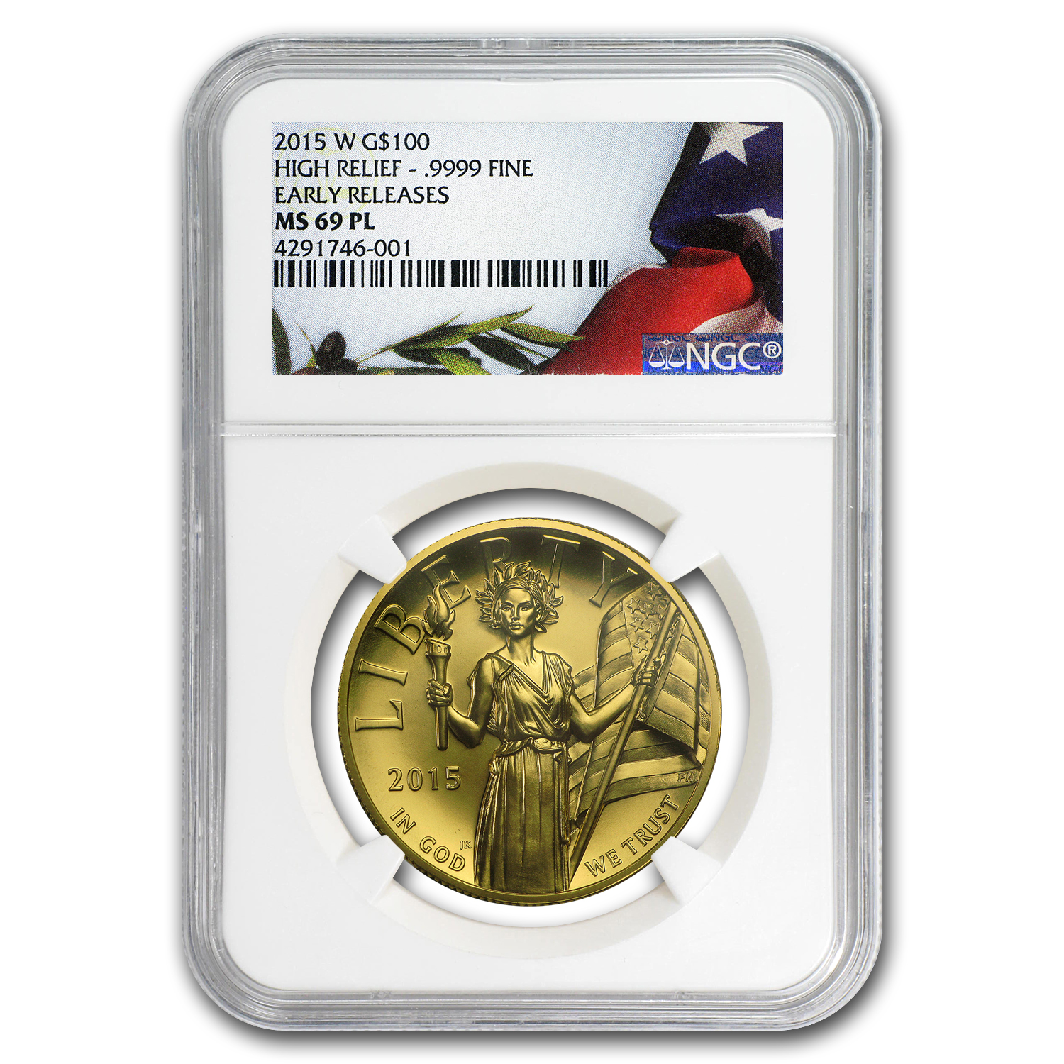 2015 American Liberty High Relief Gold MS-69 PL NGC (ER)