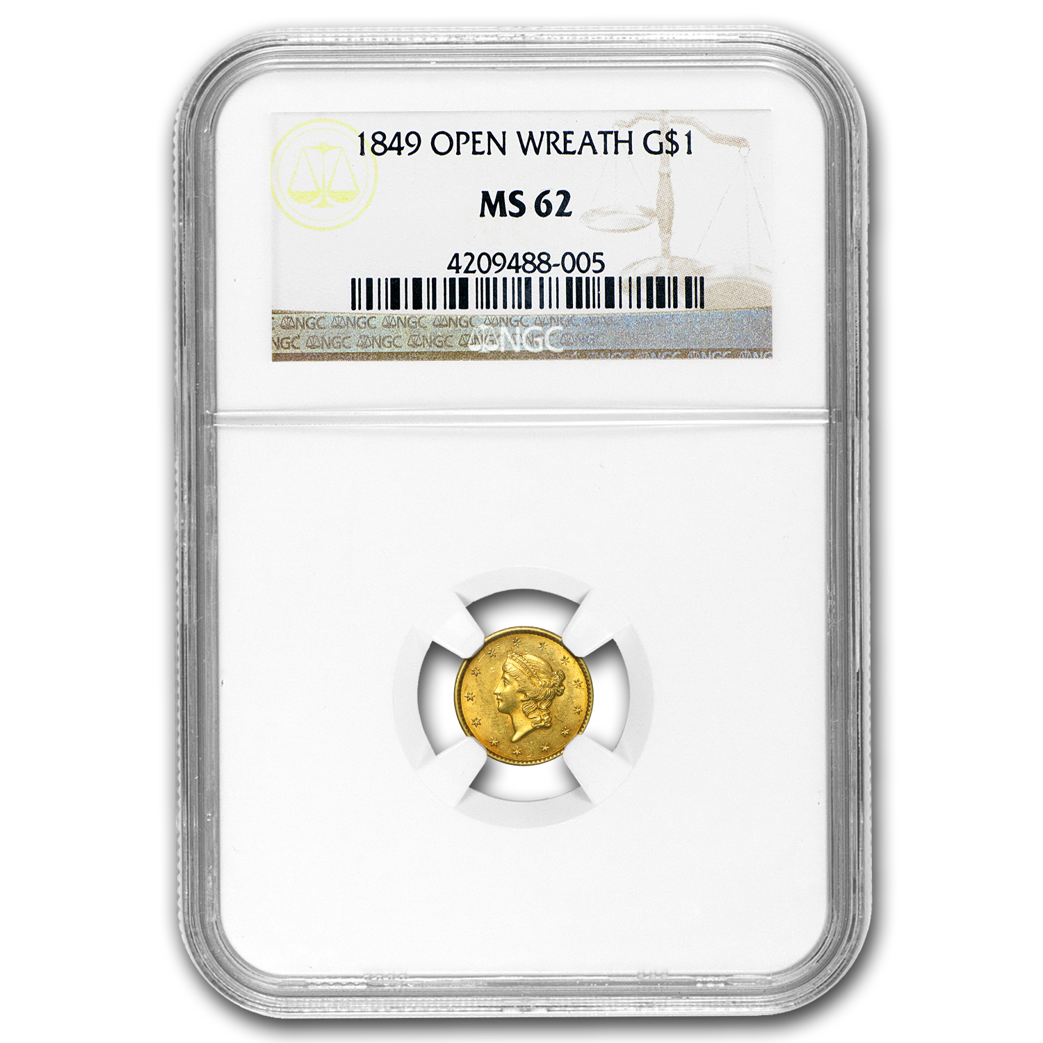 1849 $1 Liberty Gold Sm Head Open Wreath w/L MS-62 NGC