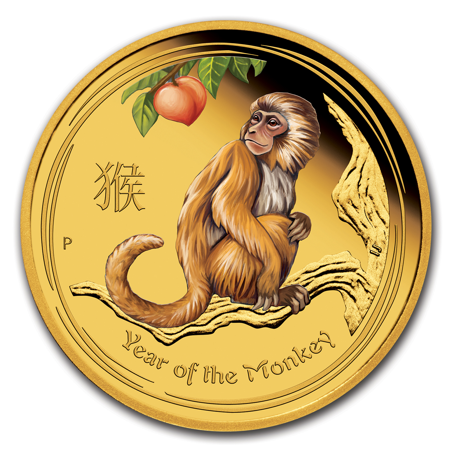 2016 Australia 1 oz Gold Lunar Monkey Proof (Colorized)