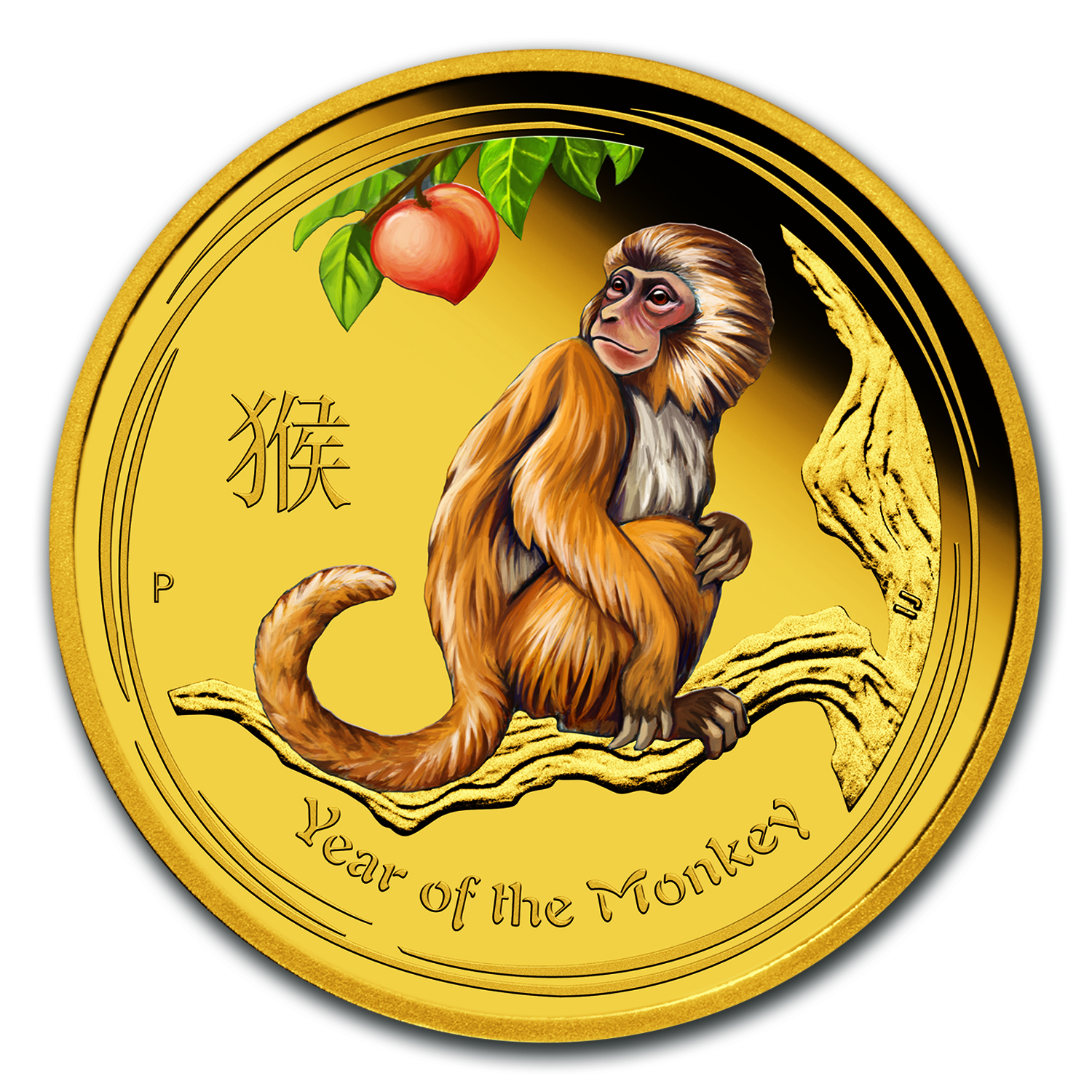 2016 Australia 1/4 oz Gold Lunar Monkey Proof (Colorized)