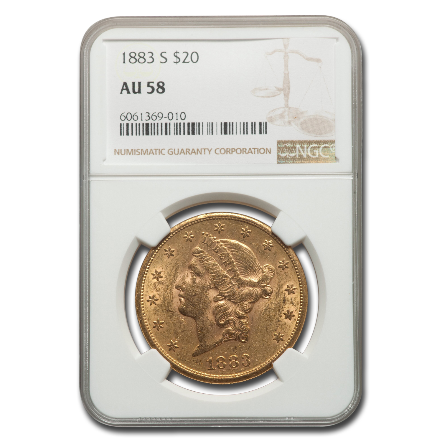 1883-S $20 Liberty Gold Double Eagle AU-58 NGC