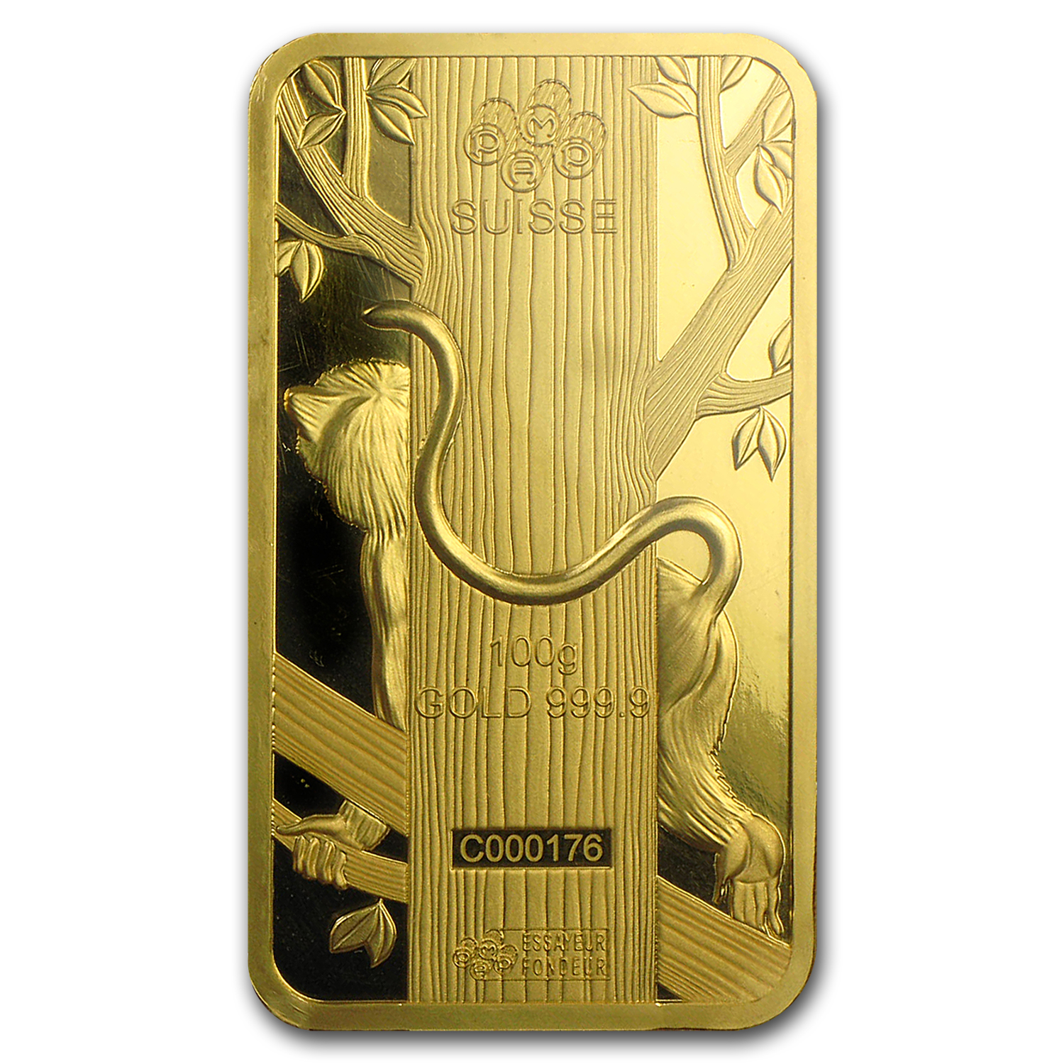 100 gram Gold Bar - PAMP Suisse Year of the Monkey (In Assay)