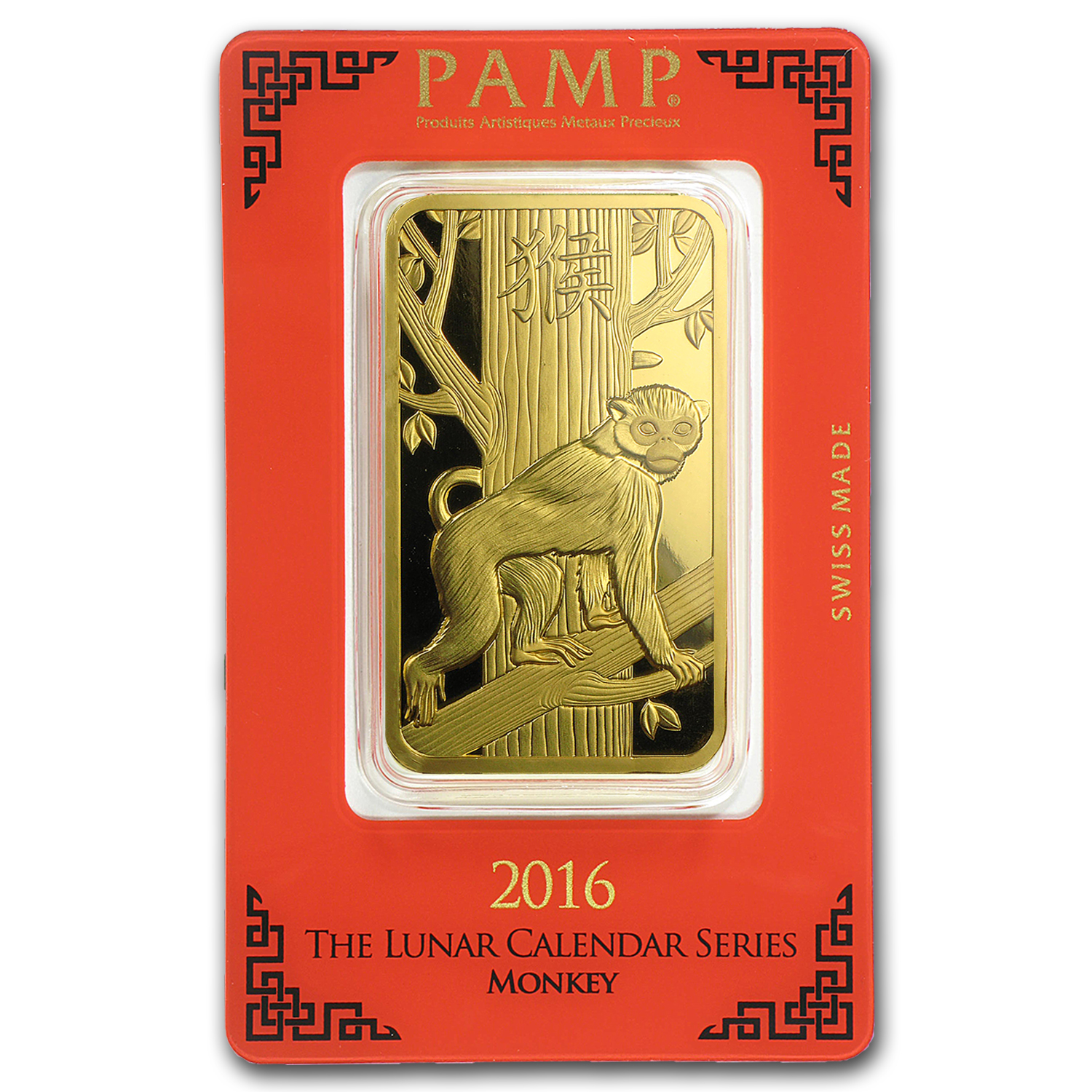 100 Gram Gold Bar Pamp Suisse Year Of The Monkey In