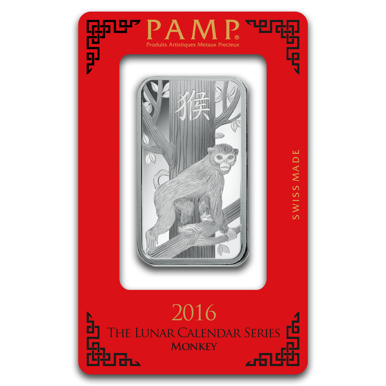1 oz Silver Bar - PAMP Suisse (Year of the Monkey)