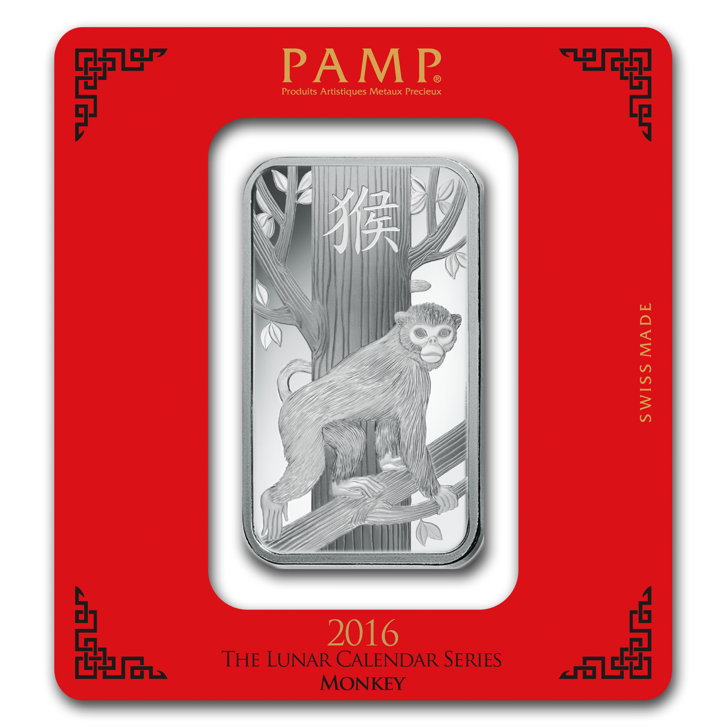 100 gram Silver Bar - PAMP Suisse (Year of the Monkey)