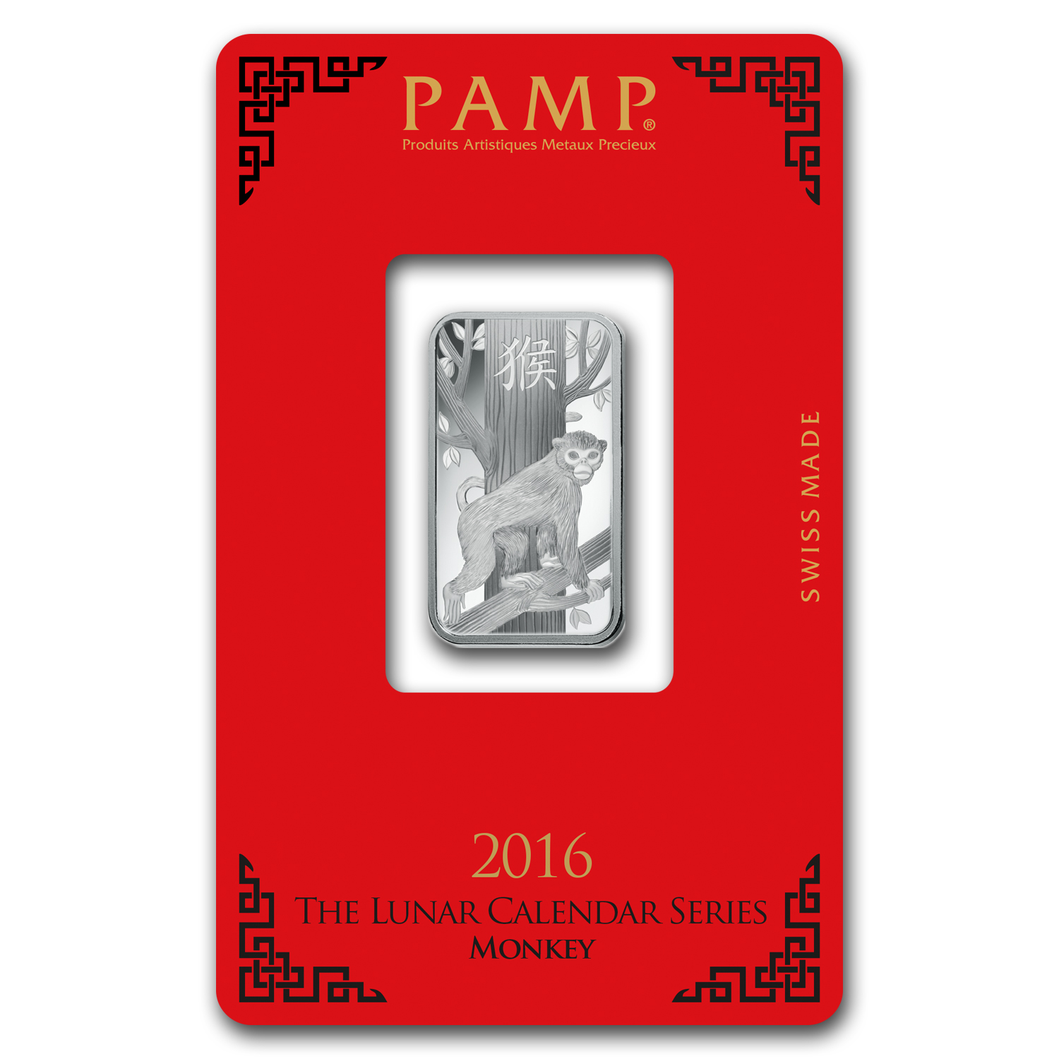 10 gram Silver Bar - PAMP Suisse (Year of the Monkey)