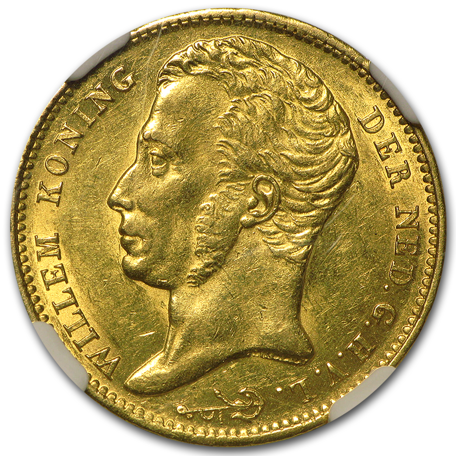 1824 Netherlands Gold 10 Gulden Willem I MS-63 NGC