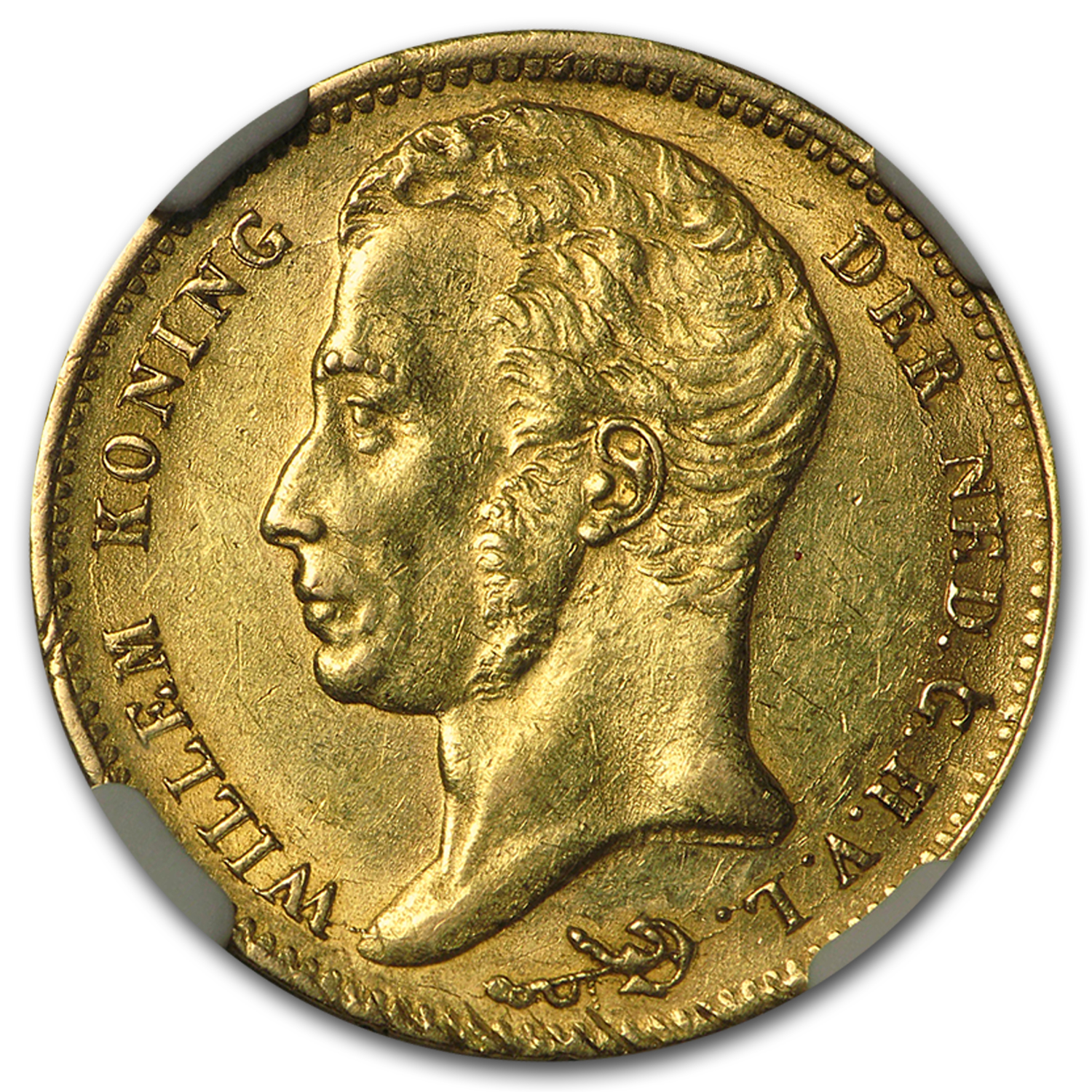1832 Netherlands Gold 10 Gulden Willem I AU-58 NGC