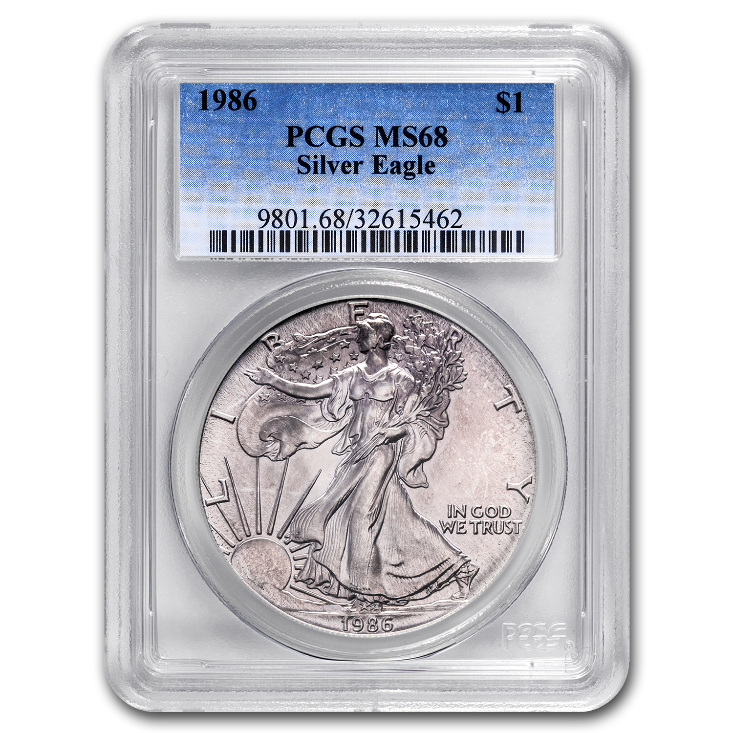 1986 Silver American Eagle MS-68 PCGS (Rev Toning)
