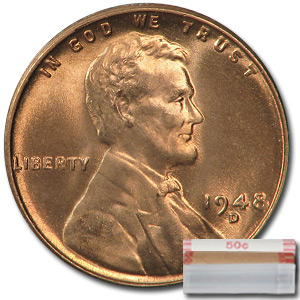 1948-D Lincoln Cent 50-Coin Roll BU