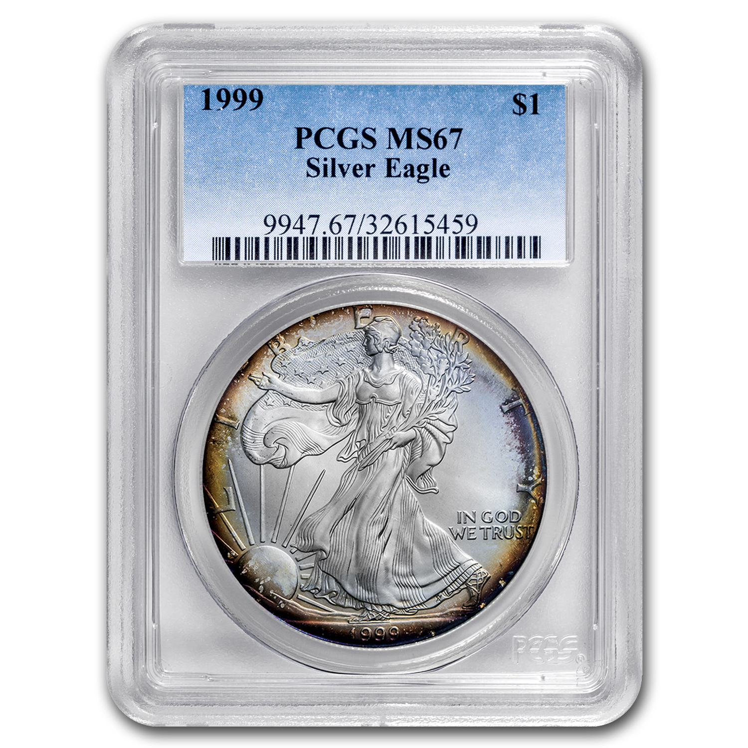 1999 Silver American Eagle MS-67 PCGS (Obv & Rev Toning)