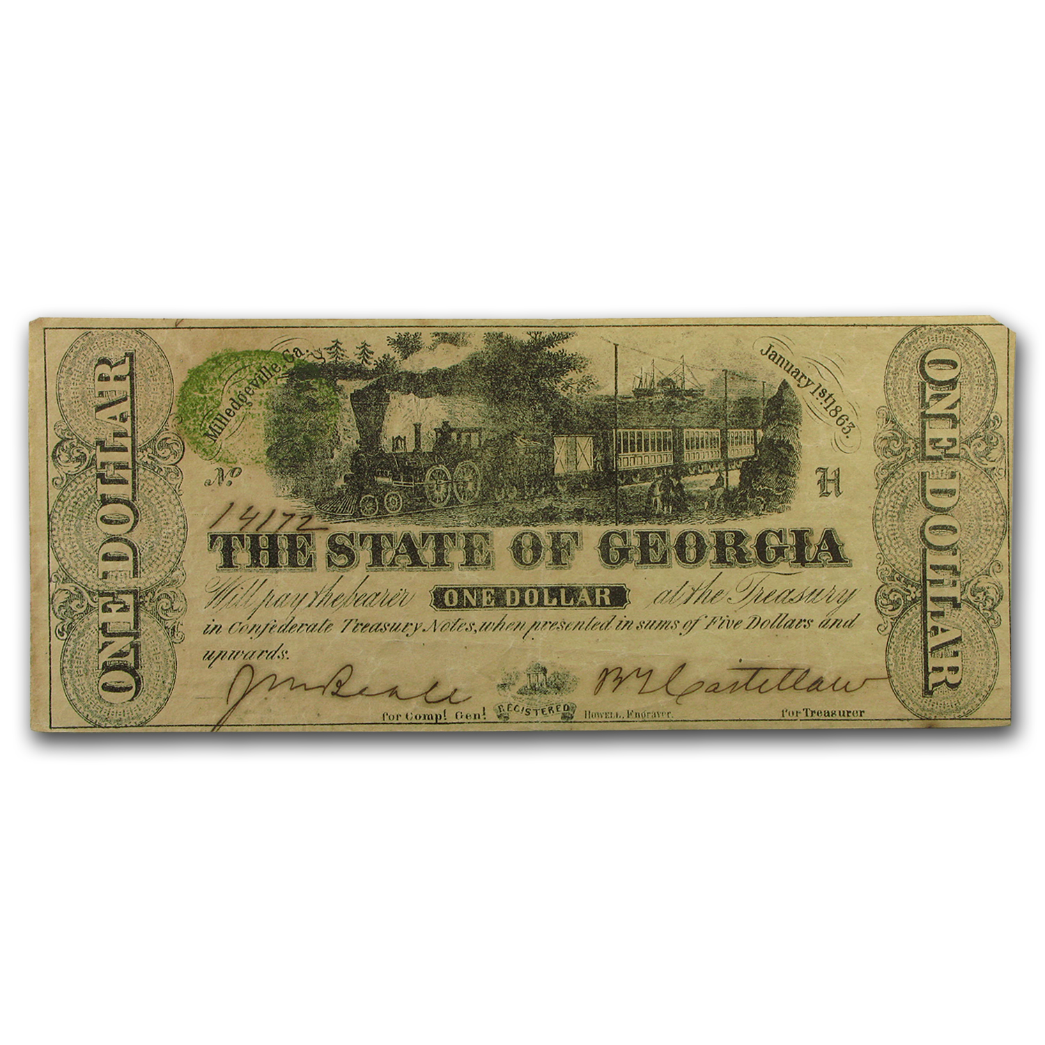 1863 State of Georgia $1.00 Note (CR-12) VF