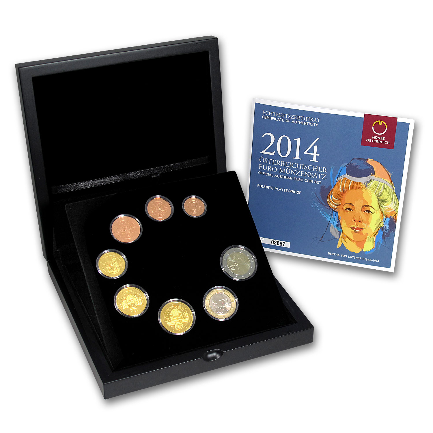 2014 Austria 8-Coin Bertha Von Suttner Mint Set