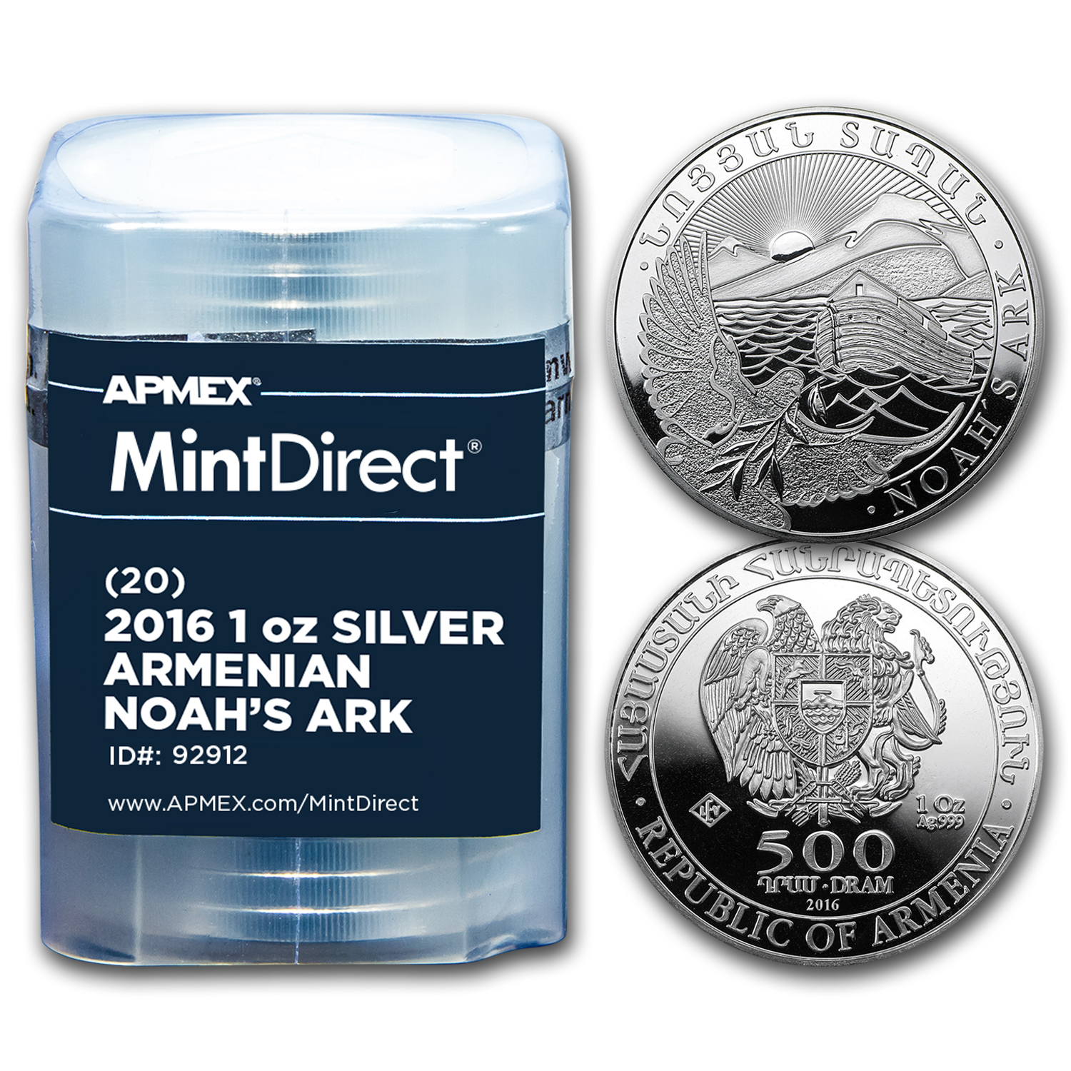 2016 Armenia 1 oz Silver Noah's Ark (20-Coin MintDirect® Tube)