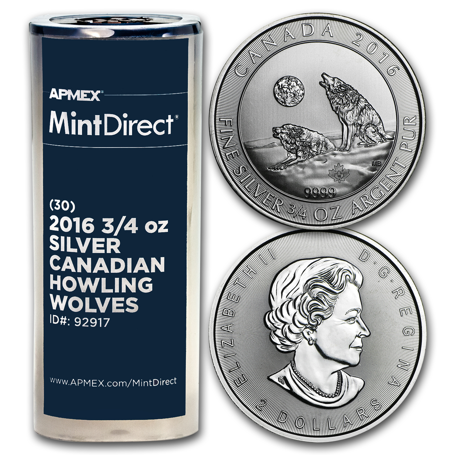 2016 Canada 3/4 oz Ag Howling Wolves (30-Coin MintDirect® Tube)
