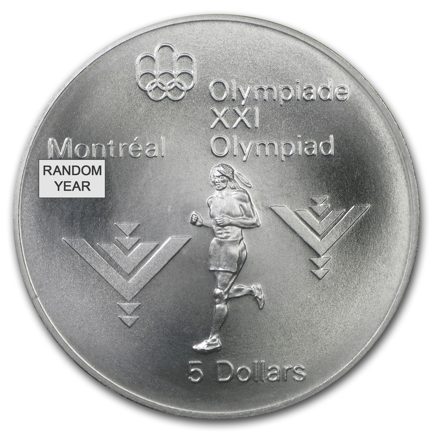 1973-1976 Canada $5 Olympic Silver Coin BU/Proof (ASW .7227 oz)