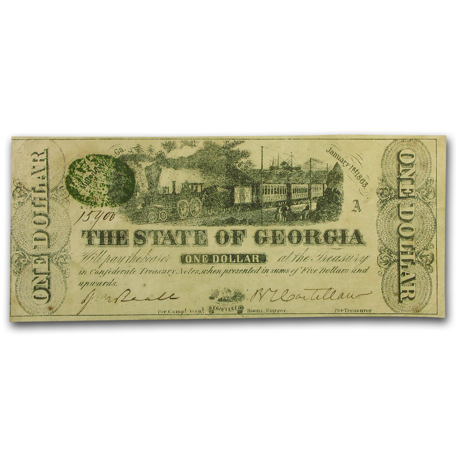 1863 State of Georgia $1.00 Note (CR-12) XF