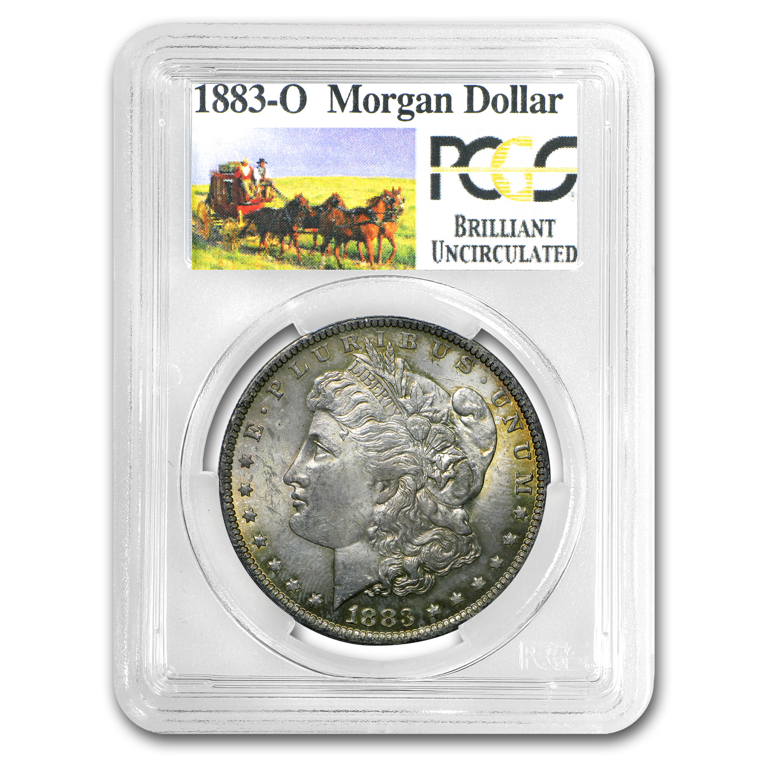 1878-1904 Stage Coach Morgan Dollar BU PCGS (Beautifully Toned)