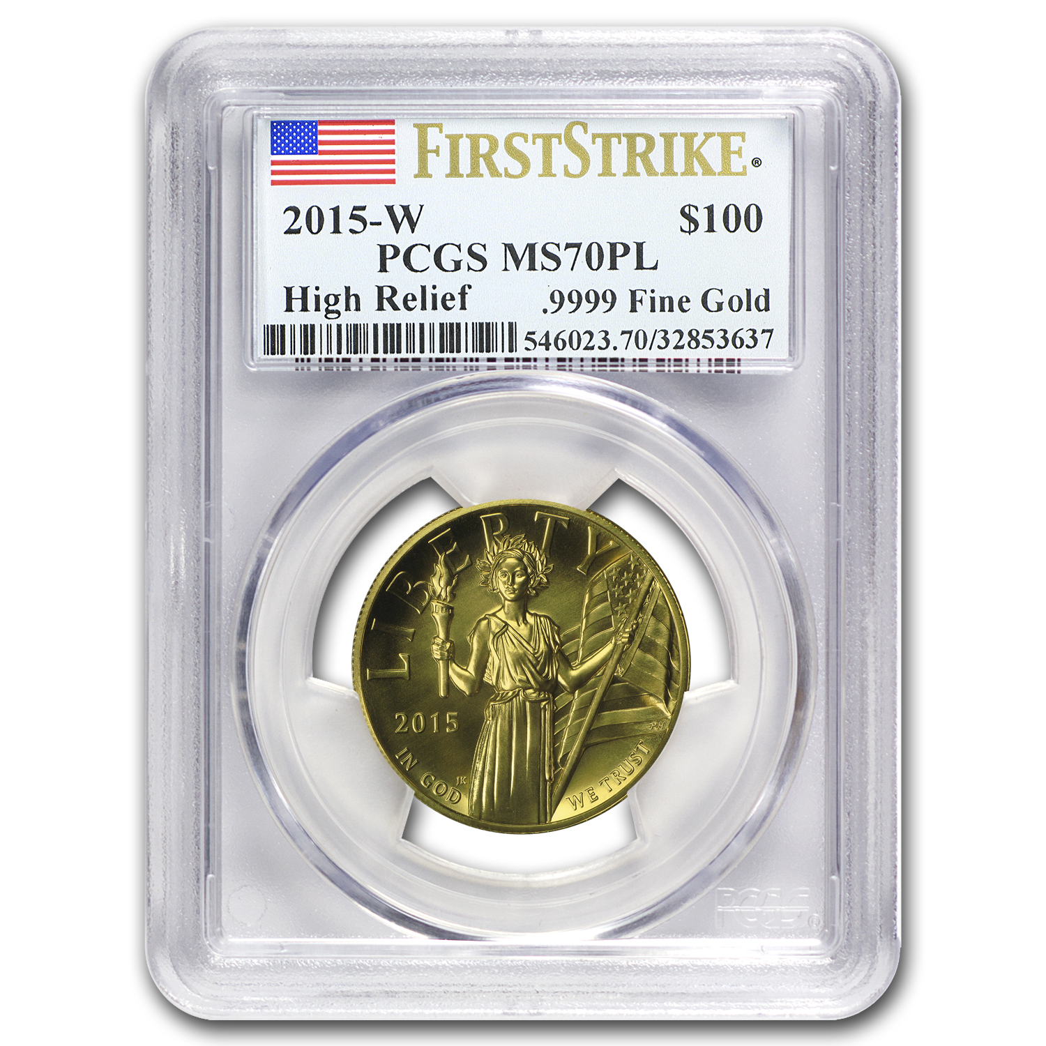 2015 High Relief American Liberty Gold MS-70 PL PCGS (FS)