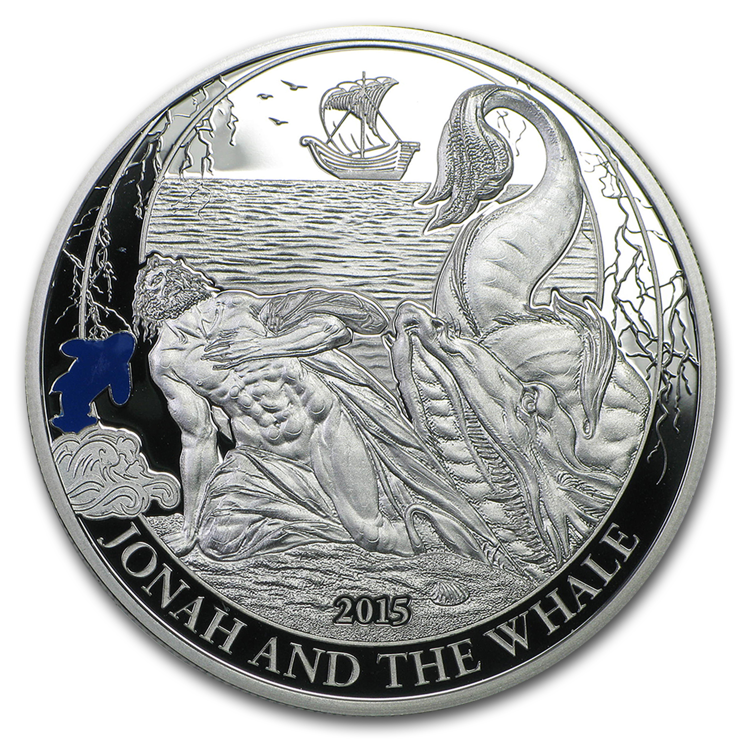 2015 Palau Proof Silver Biblical Stories Jonah and the Whale