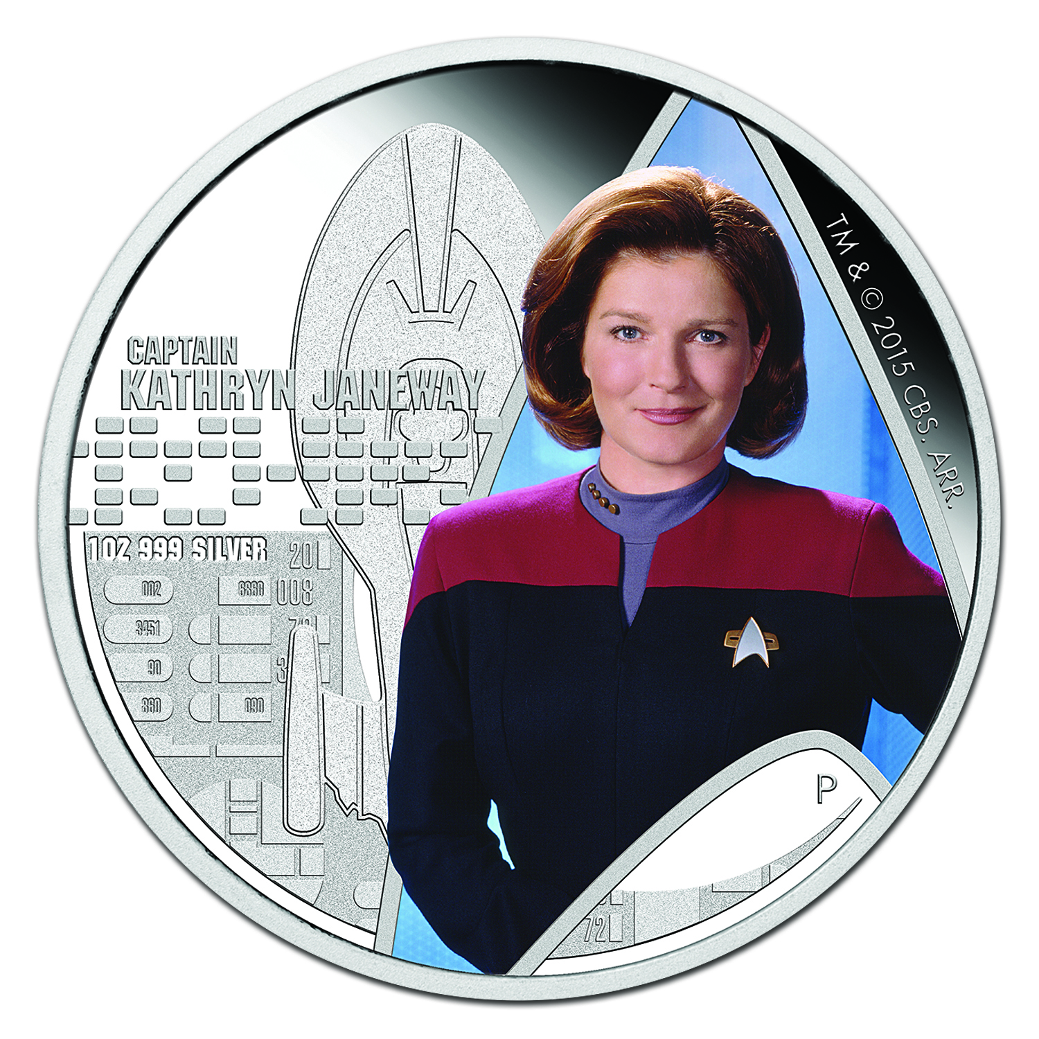 2015 Tuvalu 1 oz Silver Star Trek Colored Capt. Janeway Proof