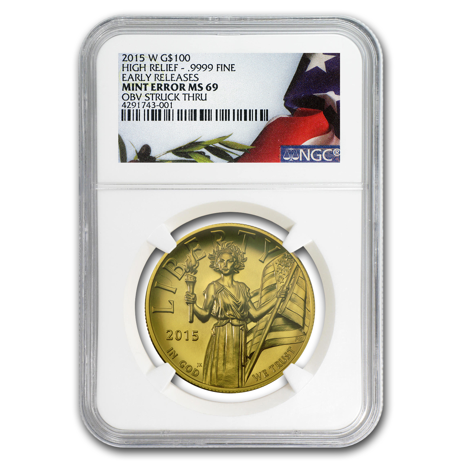 2015 American Liberty High Relief Gold MS-69 NGC (ER, Mint Error)
