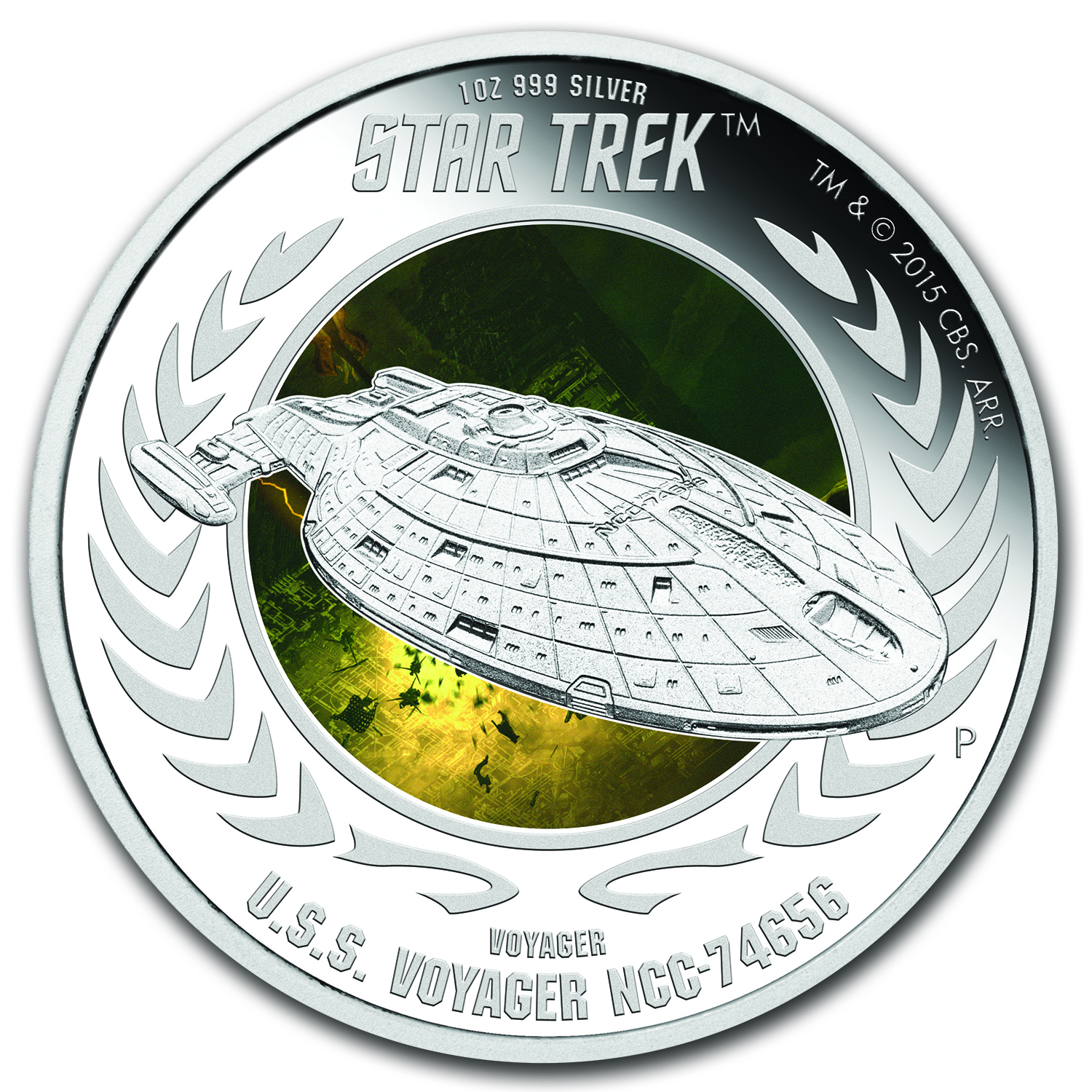 2015 Tuvalu 1 oz Silver Star Trek Voyager Colorized Proof