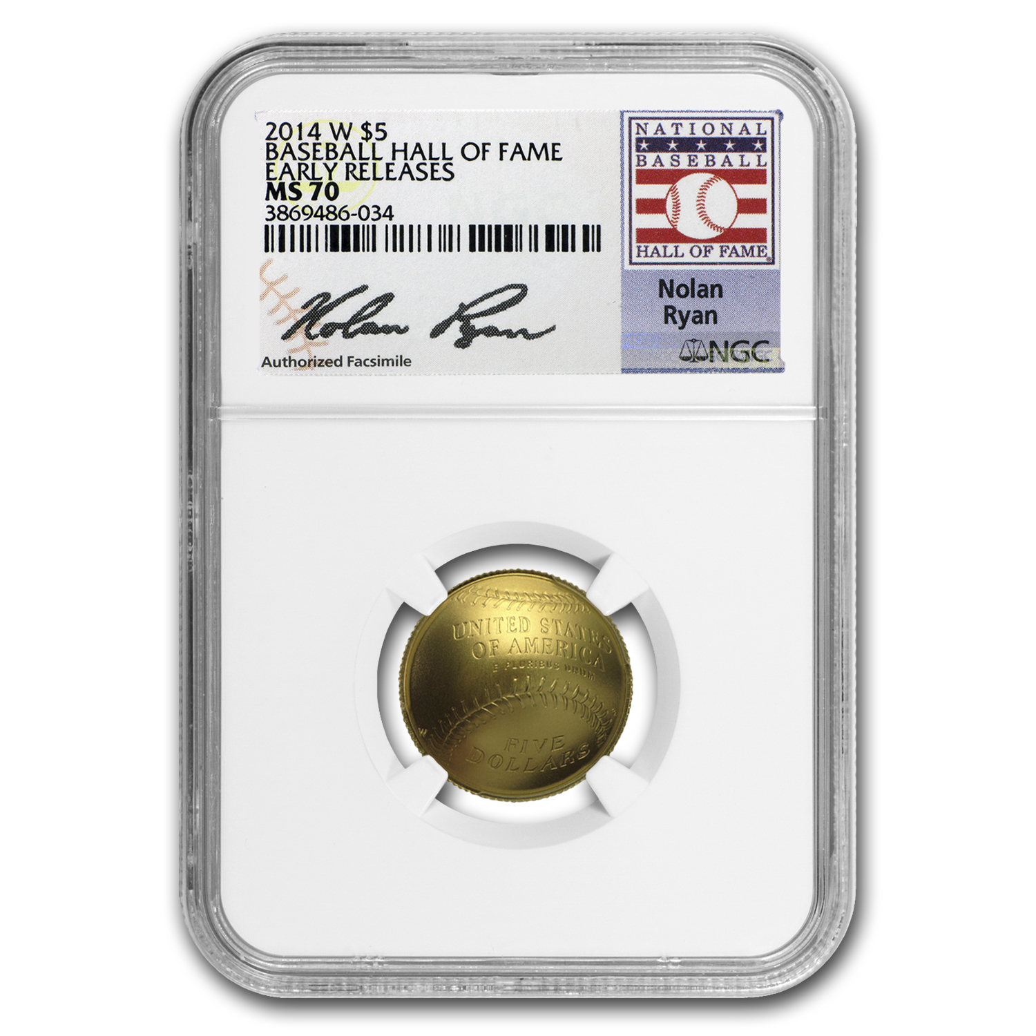 2014-W Gold $5 Commem Baseball HOF MS-70 NGC (ER, Nolan Ryan)