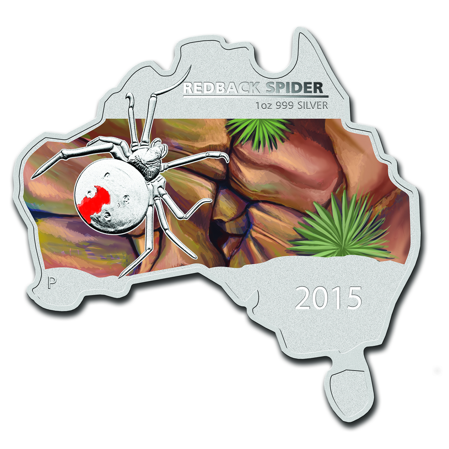 2015 Australia 1 oz Silver Redback Spider (Map Shape)