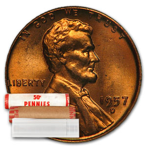 1957-D Lincoln Cent 50-Coin Roll BU