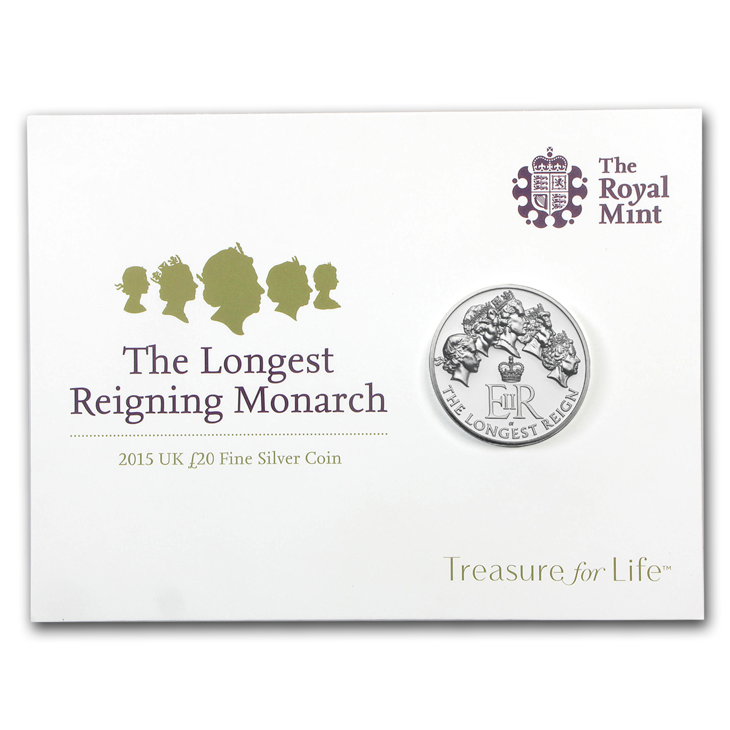 2015 Great Britain Silver £20 for £20 Longest Reigning Monarch BU