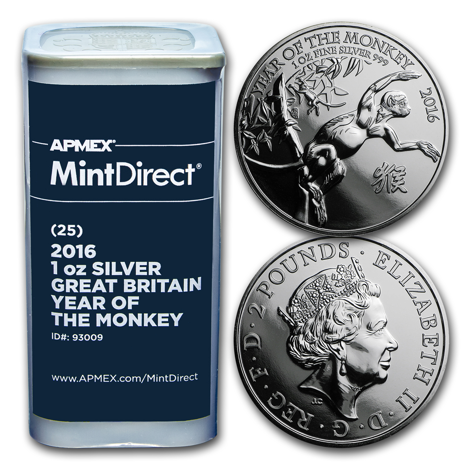 2016 GB 1 oz Silver Year of the Monkey (25-Coin MintDirect® Tube)