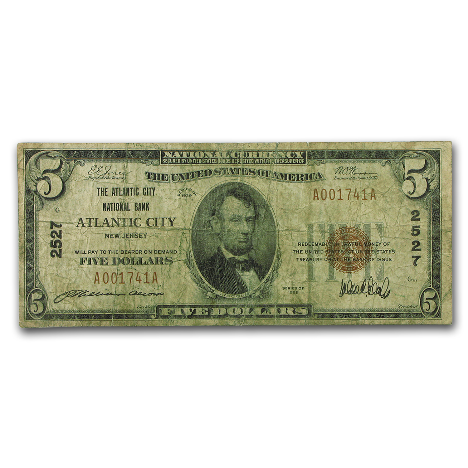 1929 Type 1 $5.00 Atlantic City, NJ VG (CH#2527)