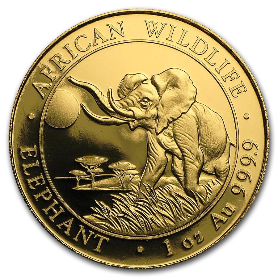 2016 Somalia 1 Oz Gold African Elephant Bu 2016 Gold