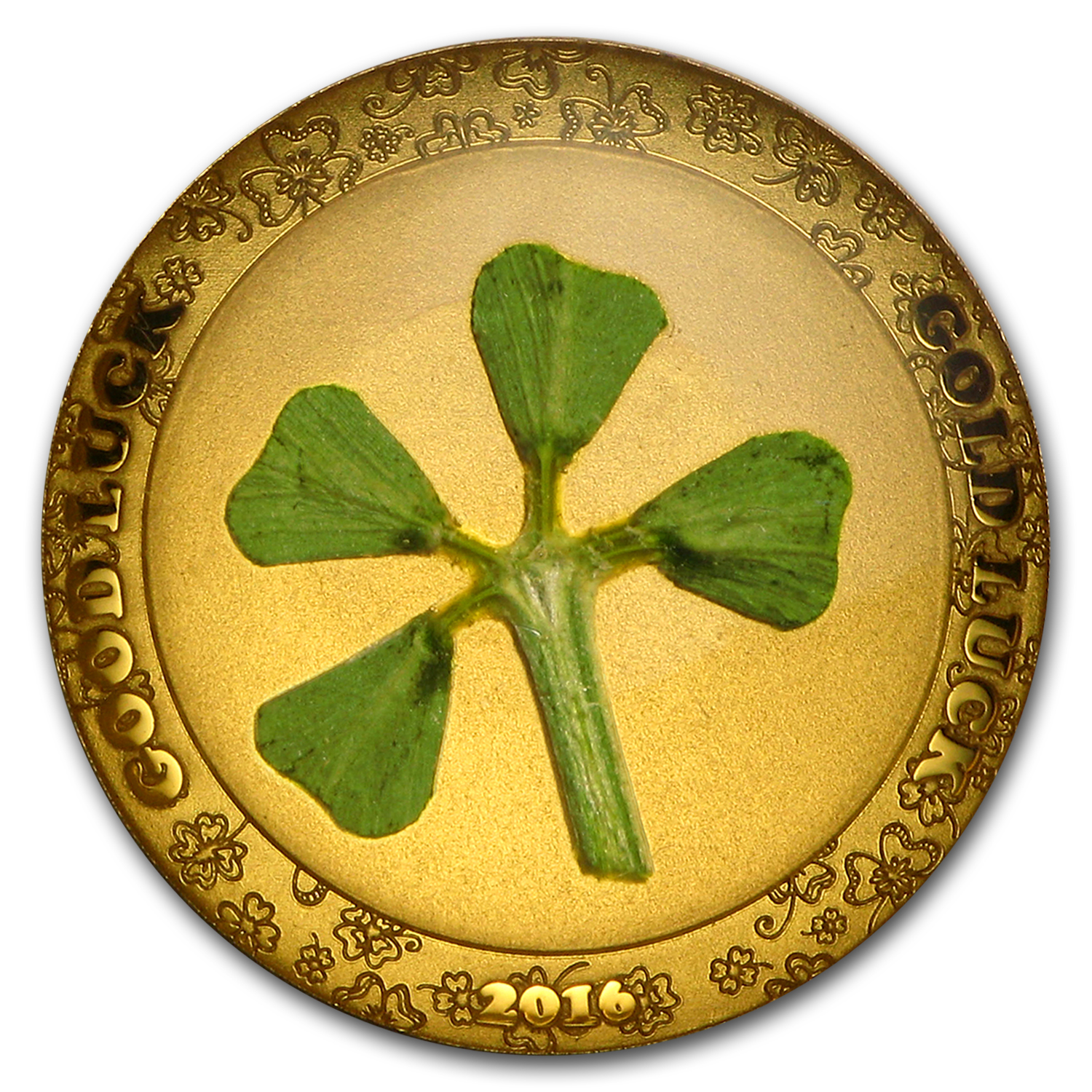 2016 Palau 1 gram Gold $1 Four-Leaf Clover