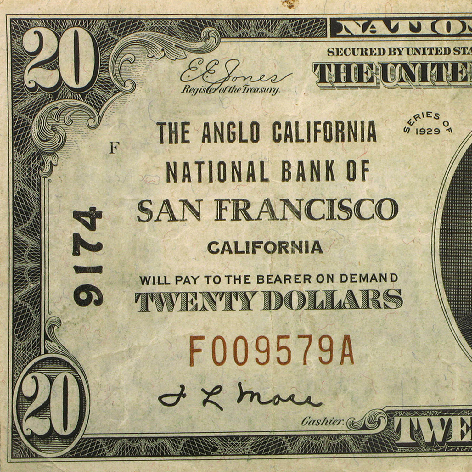 1929 Type 1 $20 San Francisco, CA VF (CH#9174)