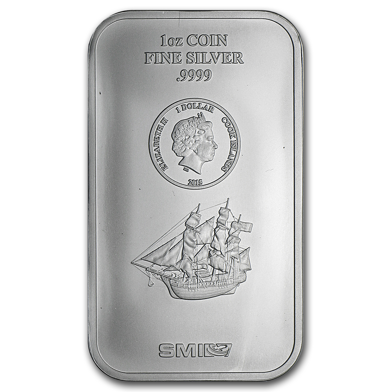 2015 1 oz Silver Cook Islands Bounty Coin Bar (.9999 Fine)