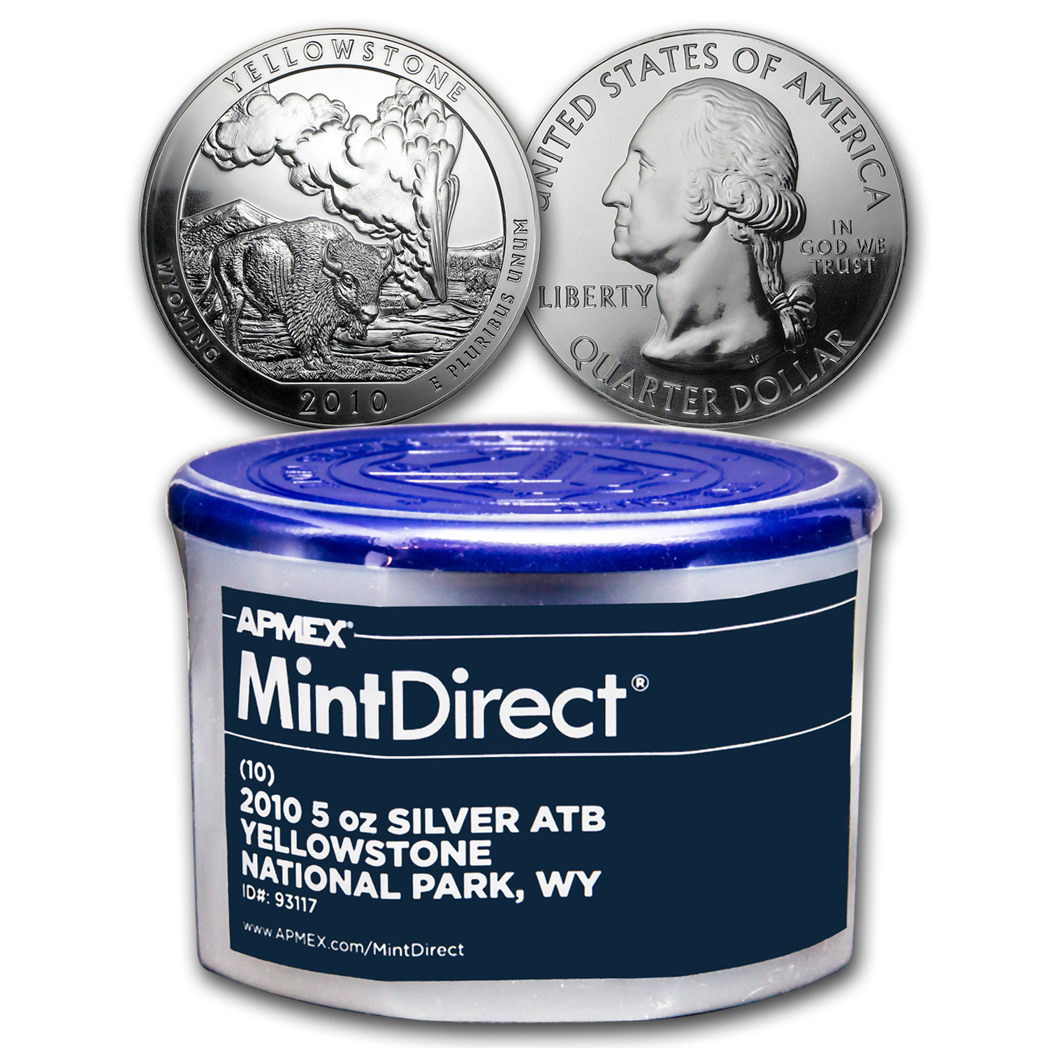 2010 5 oz Silver ATB Yellowstone (10-Coin MintDirect® Tube)