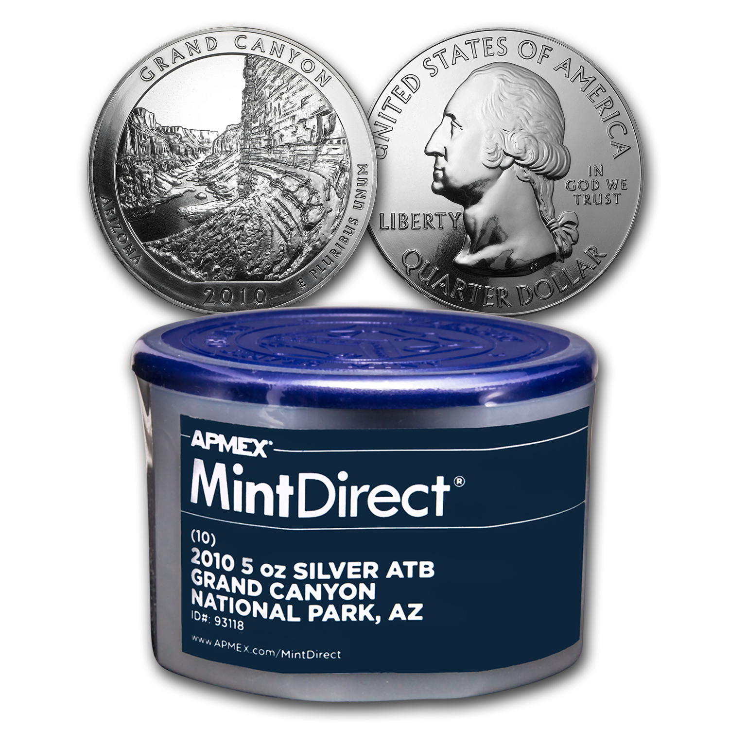 2010 5 oz Silver ATB Grand Canyon (10-Coin MintDirect® Tube)