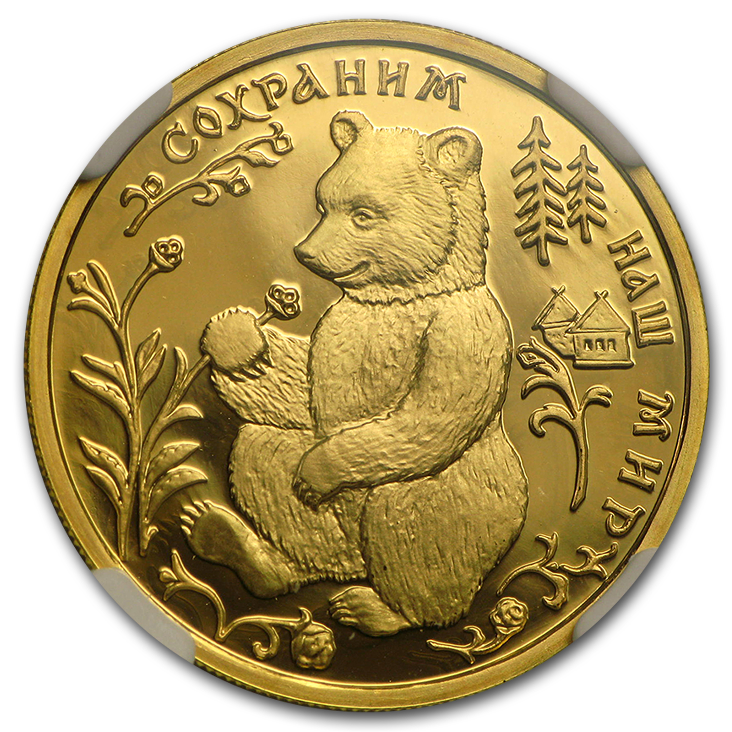1993 Russia 1/4 oz Gold 50 Roubles Brown Bear PF-70 NGC